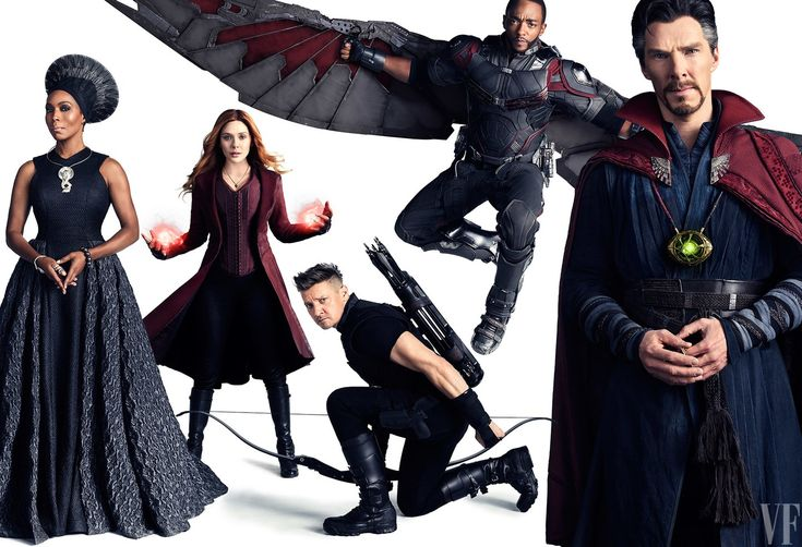 Angela Bassett as Ramonda, Elizabeth Olsen as Scarlet Witch, Jeremy Renner as Hawk Eye, Anthony Mackie as Falcon, and Benedict Cumberbatch as Doctor Strange.