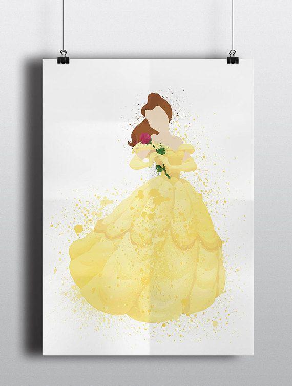 Disney Princess Poster Print - Belle   A2 Size-Resizable   Printable   Digital Download   Beauty & the Beast   Watercolour   Minimalist