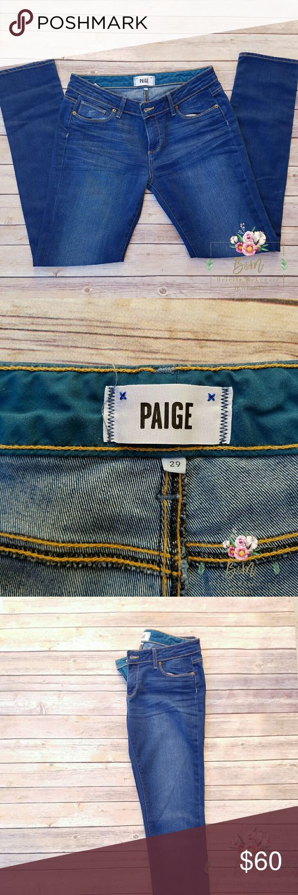 "PAIGE Jean Jimmy Jimmy Skinny Very comfortable jeans. Low rise. In excellent  condition   Inseam 31"" 73% Cotton  27% Elasterell-p Paige Jeans Jeans Skinny"