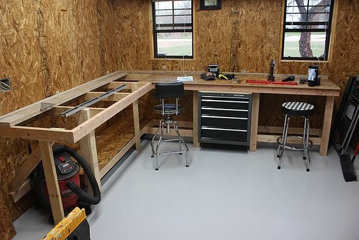 Need workbench ideas - The Garage Journal Board. An L-shaped bench under window vent for soldering/working.  Opposite orientation from this one.