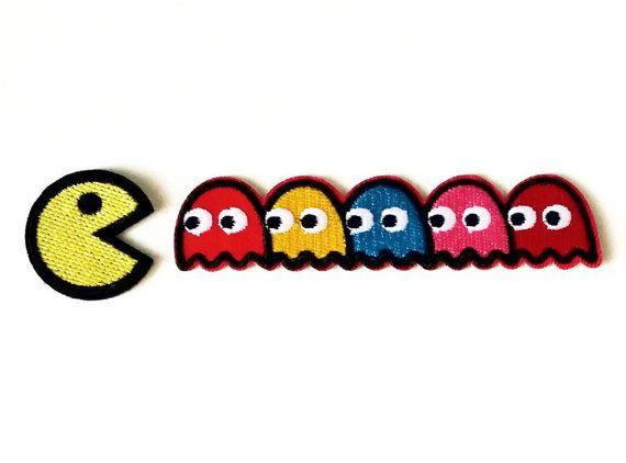 Satz von 2 Stück Pac Mann Patch Ghost Patch Cartoon von RockyMonkei