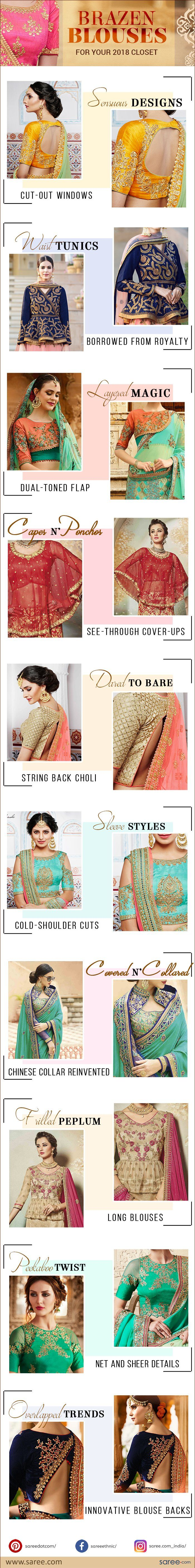 10 Chic and Stylish Saree Blouse Designs for 2018 - Infographic
