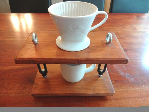 Wooden coffee drip stand with Jamie Olivier's Mug and ceramic dripper