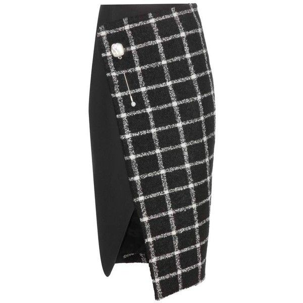 Balenciaga Check Wool Blend Wrap Skirt (15,210 CNY) ❤ liked on Polyvore featuring skirts, black, black wrap skirt, black knee length skirt, balenciaga, checked skirt and balenciaga skirt