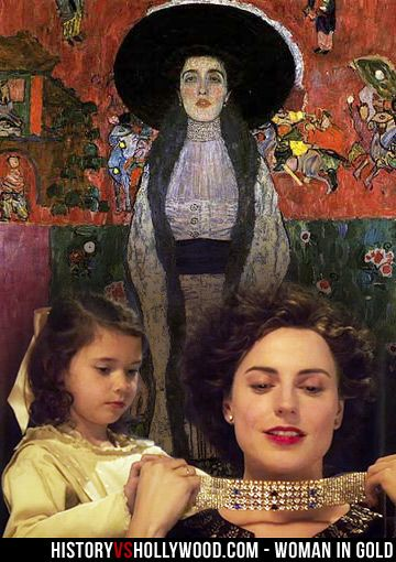"Gustav Klimt's ""Portrait of Adele Bloch-Bauer II"". In the foreground is a young Maria Altmann and her Aunt Adele in the Woman in Gold movie. See more: http://www.historyvshollywood.com/reelfaces/woman-in-gold/"