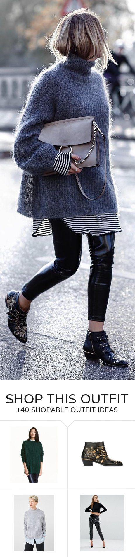 #winter #mode / grauer Rollkragenpullover + schwarze Hose + Nietenstiefel – Winter Mode