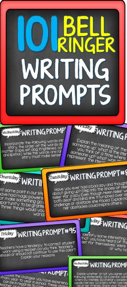 101 attractively designed, creative writing prompts for students to use. These prompts can be displayed as a daily bell ringer or used as a fun way to practice creative writing skills throughout the year.