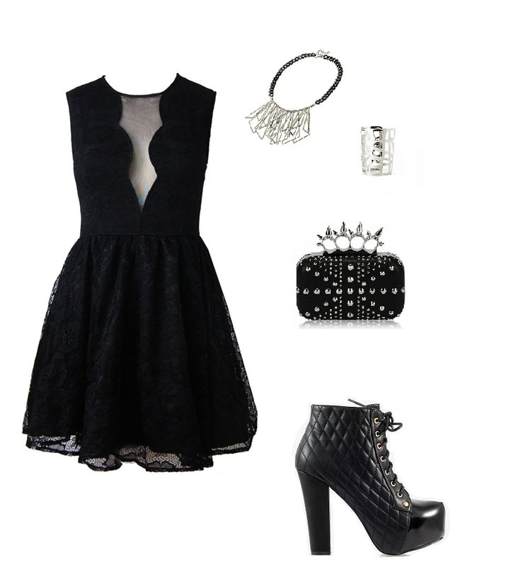 rock's stylization, black laces dress, hard accessories, high heels, www.magazyn.modadamska.waw.pl