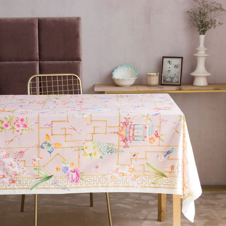 Fan Print Cotton Napkins And Tablecloth