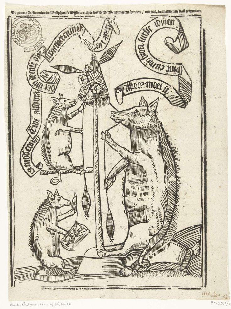 Anonymous | Varkens die spinnen, 1673, Anonymous, 1674 | Dierenallegorie waarin varkens moeten spinnen omdat door het tekort aan vrouwen (door de oorlog van Bernard von Galen, de bisschop van Munster) in Westfalen. Met teksten in banderollen in het blok in het Nederlands.