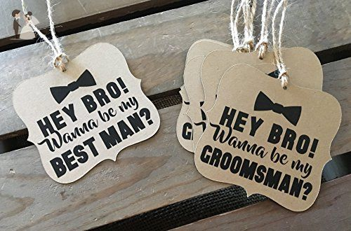 Will you be my Groomsman - Best Man - Usher - Square Bracket Shaped - Rustic Modern - WEDDING - Bow Tie - Personalize - Recycled - Eco Friendly - Groom fashion accessories (*Amazon Partner-Link)