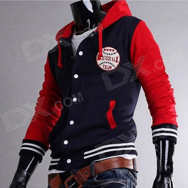 ashionable Men's Leisure Baseball Hooded Fleece - Red + Navy Blue #Men'sFLeece