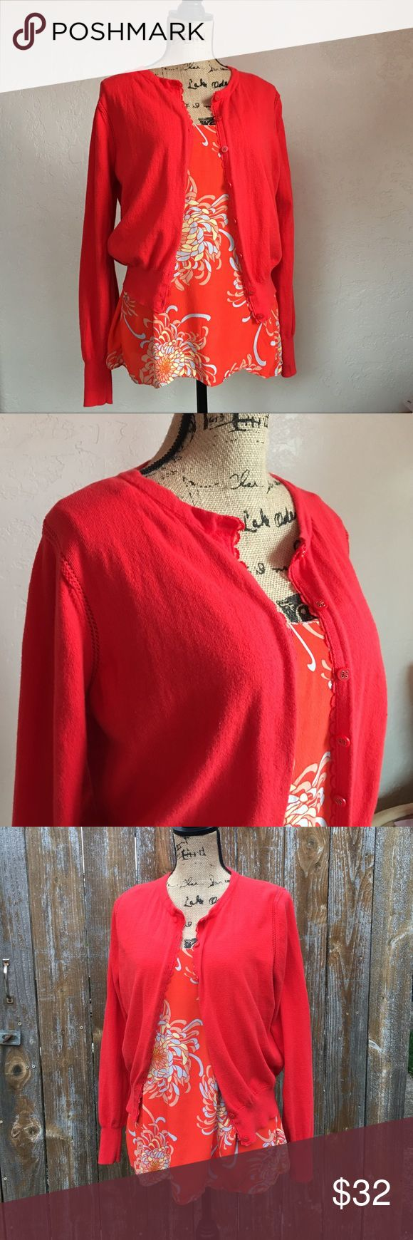 🌷CAbi🌷 Camisole/Cardigan Seat Orange Style #297 Vibrant Orange 🍊 CAbi 🍊Cardigan and Camisole! Gently used. 👉🏻Cardigan size XL, Camisole is size Large👈🏻 There is a little fabric balling under the arms, see photo #8.  Approximate Measurements in Inches: CAbi Cardigan Length 19.5 Chest 19 3/4 Seat 13 Sleeve 29 (including shoulder)  CAbi tank Camisole Length 19.5 Waist 21 Seat 22 CAbi Tops Camisoles
