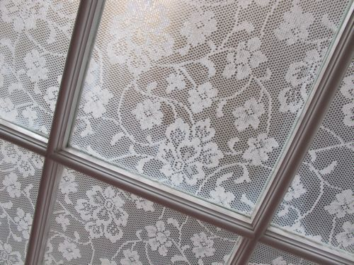Lace cornstarch window treatment - privacy for front door sidelights!