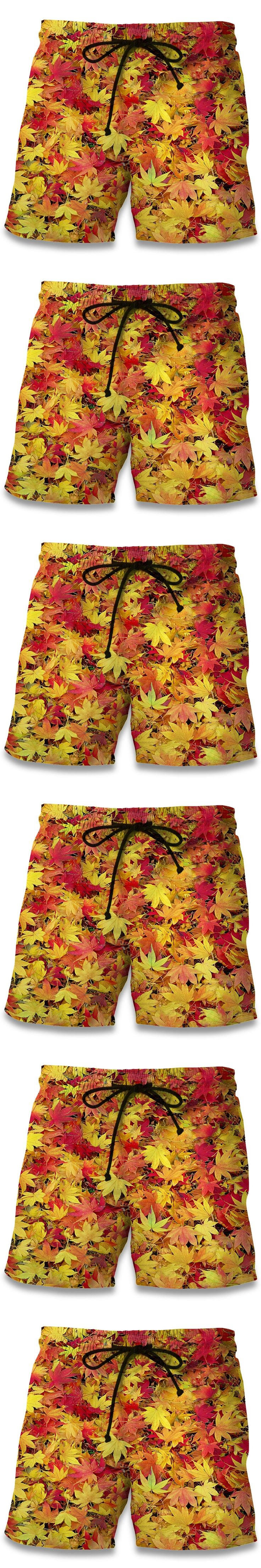 Summer Men Beach Shorts 2017 Yellowed maple leaf 3D Print Fashion Men's Bermuda Boardshorts Fitness Trousers Plus Size Quick Dry
