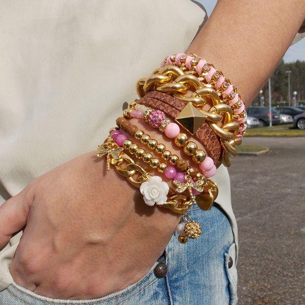 #pulseras ♥ ♥ #ByNeskaPolita www.byneskapolita.com #pink #gold #style #new #collection #spring #summer