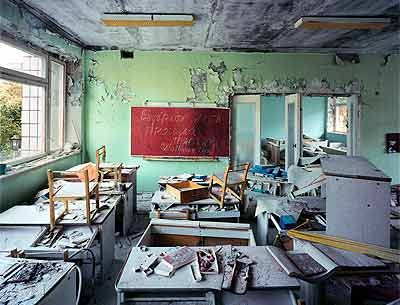 An unexpected look at what remains of Chernobyl and the town of Pripyat, Russia.  In May 2001, Robert Polidori photographed what was left behind in this dead zone. His richly detailed images move from the burned-out control room of Reactor 4 — where technicians staged the experiment that caused the disaster — to the unfinished apartment complexes, ransacked schools and abandoned nurseries that remain as evidence of all those people who once called Pripyat home.