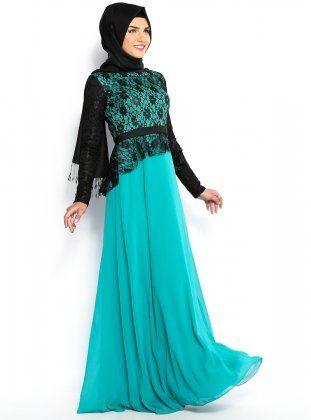 #Hijab #Hijabfashion #hijabstyle #hijabdress #hijab2014 - Refka Cloche Lacy Dress - Green