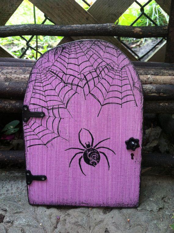 Halloween FAIRY DOOR distressed purple black spider by WoodenBLING,