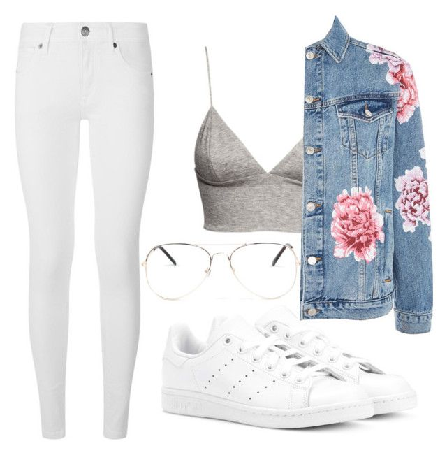 """Pink Flowers"" by liaperezmorales on Polyvore featuring Burberry, H&M, adidas Originals, Topshop and Armitage Avenue"