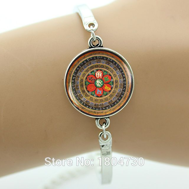 böhmischen stil Yoga armband om Mani Padme Hum Mandala bettelarmband vintage buddhistischen schmuck om Mandala schmuck großhandel ma30(China (Mainland))