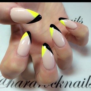 nude with black/yellow tips