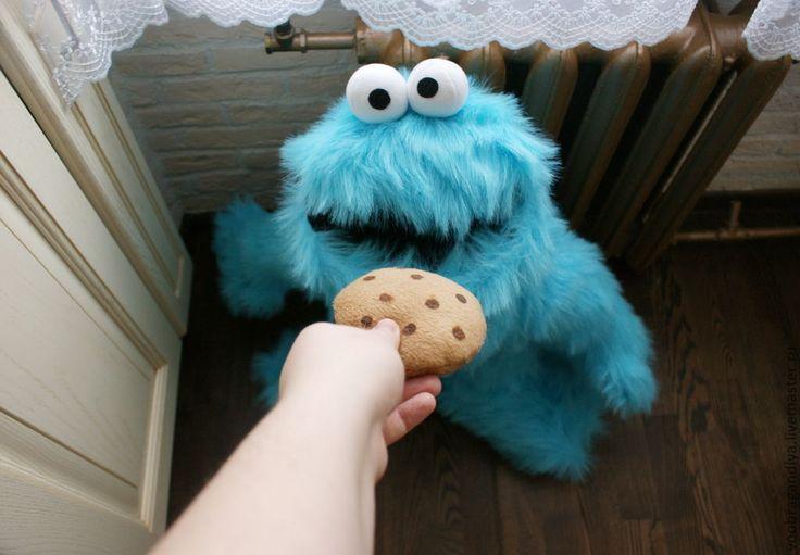 Купить Коржик с улицы Сезам, он же Куки монстр - бирюзовый, мультяшки, персональный подарок, сезам  #CookieMonste #Muppets #plushtoy #Кукимонстр #УлицаСезам