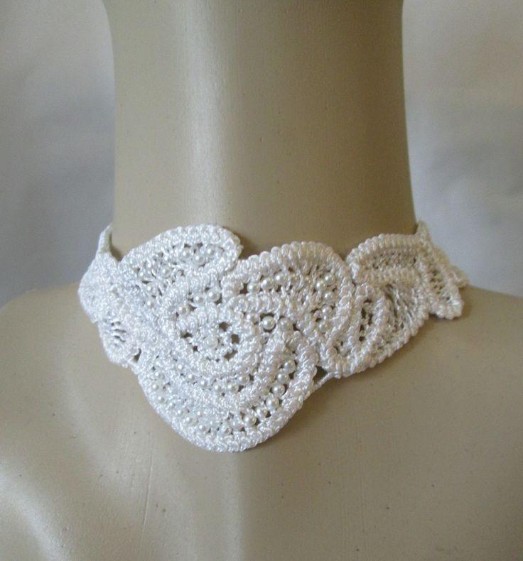 Ivory bridal choker ,lace choker,romantic bride ,ivory lace choker…