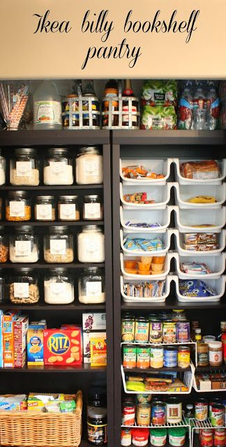 IKEA Billy Bookshelf Pantry - this blogger shows how she organized her pantry by using the bookshelves, jars & stackable organizers. + She included the printable that she used to label her jars.