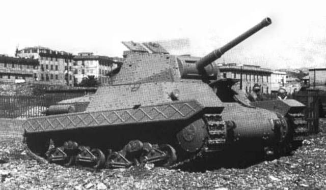 "The P40 was an Italian World War II medium tank. It was armed with a 75 mm gun and an 8 mm Breda machine gun, plus another optional machine gun in an anti-aircraft mount. The official Italian designation was Carro Armato(""armoured vehicle"") P 26/40.The designation means: P for pesante (Italian: ""heavy""), the weight of 26 tonnes, and the year of adoption: 1940.Though physically a medium tank in size, weight, armor, and armament, it was classified as a heavy tank by the Italian military in…"