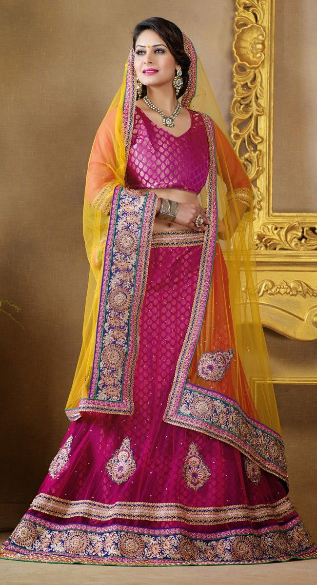 Magenta color Party Wear #LehngaCholi-Net Lehenga Choli