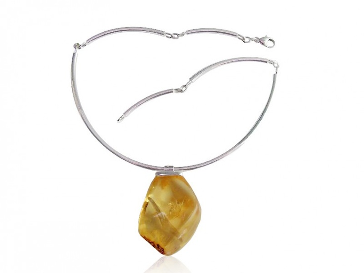 Silver art - handmade necklace with amber