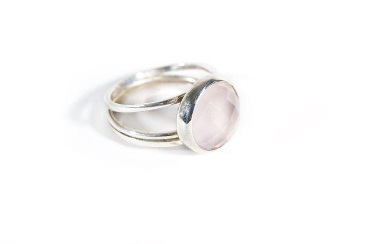 rosequartz pastel gemstone ring