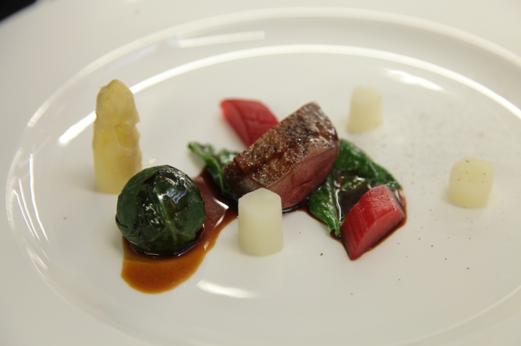 Pigeon, White Asparagus, Rhubarb and Baby Spinach