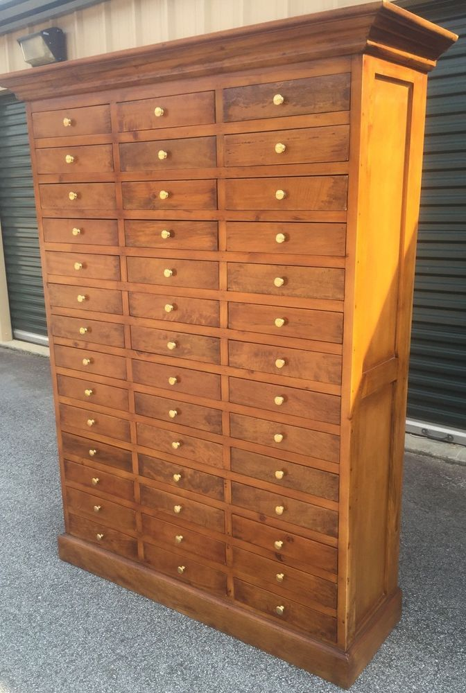 42 Drawer Letterpress Type Cabinet Apothecary Blue Print Art Jewelry Spice  Wood