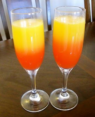 Sunset Mimosas ... Fill a champagne flute about halfway with orange juice.  Fill the rest of the glass with your favorite champagne.  Add a few drops of grenadine to create that sunset look ... For a holiday version, add a splash of cranberry juice (instead of the grenadine) & some cranberries as a garnish. Enjoy!   the cultural dish