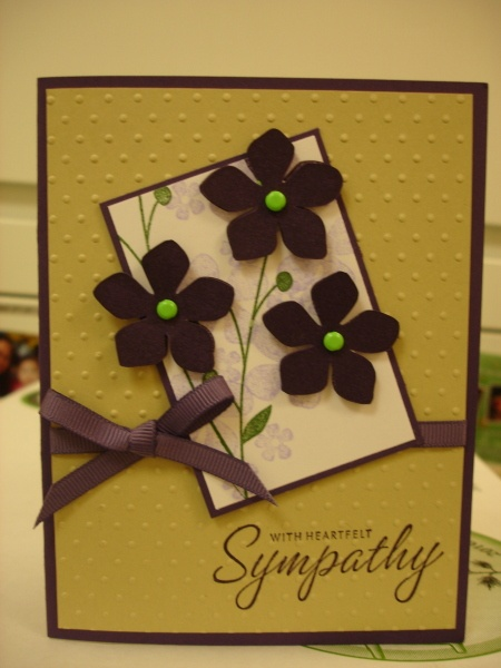 Sympathy Card - I like the punched flowers over the stamped stems