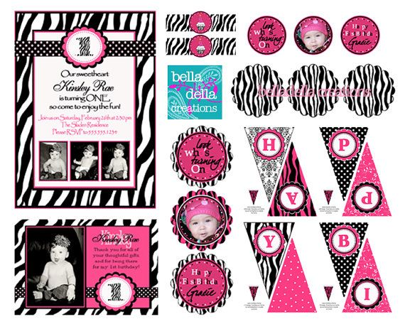 Printable Personalized Zebra Birthday Party by BelladellaCreations, $30.00
