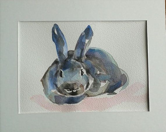 Funny Bunny  original watercolour painting by MyCoveArt on Etsy