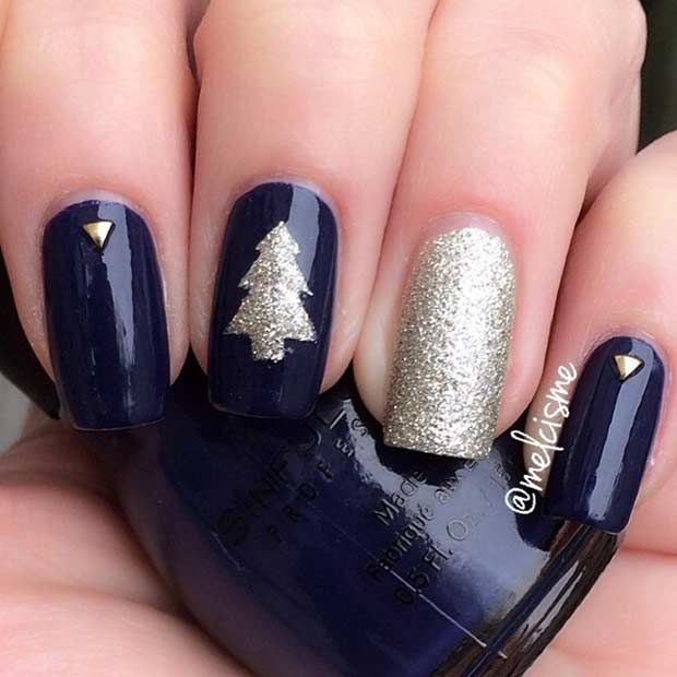 Blue and Gold Christmas Tree Nail Design More