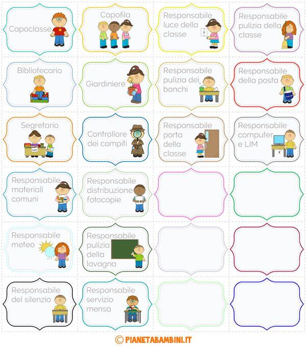 Cartellone degli incarichi per gli alunni della scuola primaria
