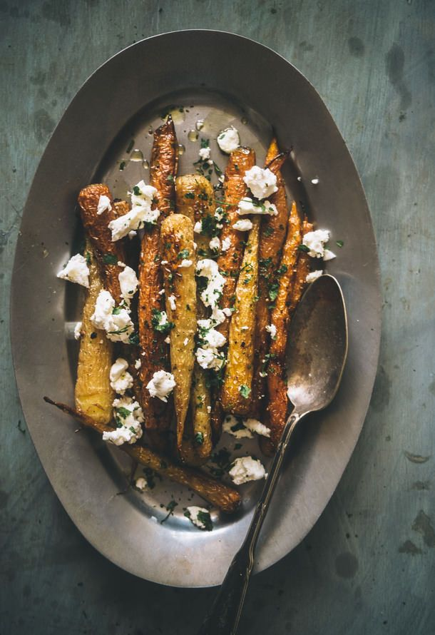 Roasted Carrots with Fennel and Goats Cheese.