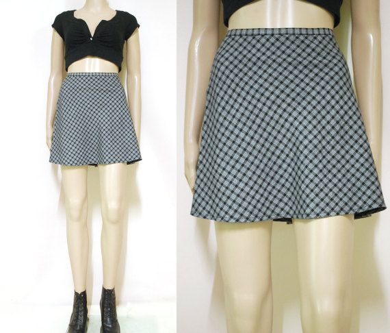 Vintage 90s Mini Skirt Checkered Grey Black by GamineRagVintage