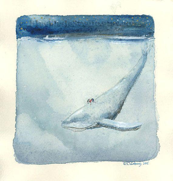 Whale Rider Watercolor IllustrationOriginal Painting di olgaonga