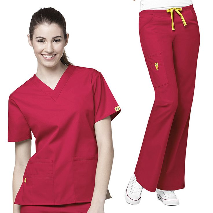 This sporty and flattering scrub set from Wonderwink Origins collection features a V-neck scrub top and drawstring scrub pants with lots of fun details. | www.allheart.com #allheart #maevn #scrubs #nurse