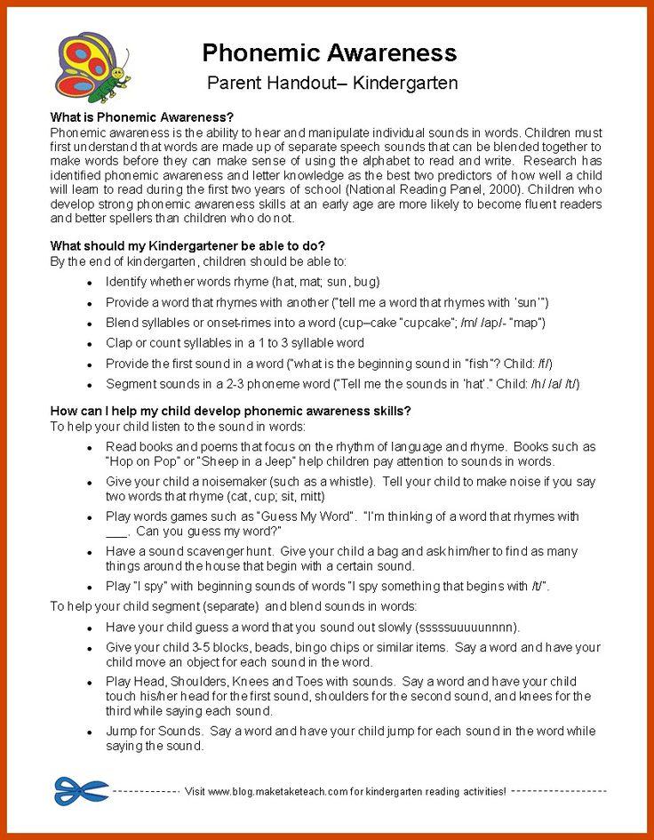 Classroom Freebies: Parent Handouts for Phonemic Awareness