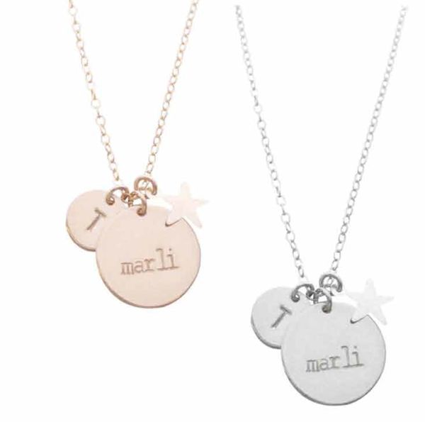 The Marli Necklace- Double Disc and Star Charm