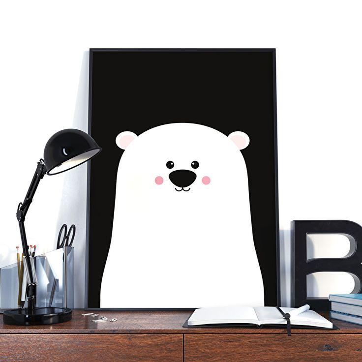 Poster Beer zwart-wit A3.Poster beer staat in elke hippe kamer, en is heel trendy met de zwarte achtergrond. Geef hem kado of om gebruik hem zelf! Zo creëer je een nieuwe look in niet veel tijd en met weinig geld. Poster is mat gedrukt op 250 grams papier.  Kinderkamer babykamer monochrome decoratie