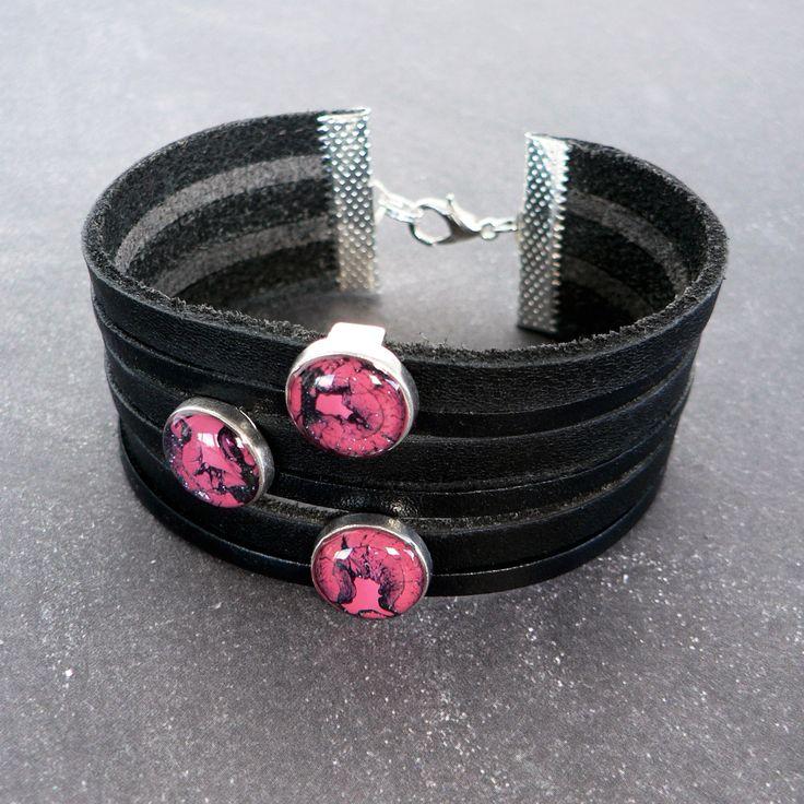 Bracelet Cuir Noir, Masculin Féminin, Perles motif Graphique Rose Fuchsia, Noir Bleuté, Bijou Fait Main : Bijoux pour hommes par l-oiseau-seraphine