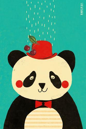 Panda print - Pimpelpluis - https://www.facebook.com/pages/Pimpelpluis/188675421305550?ref=hl - (nursery print illustration kids children art poster dieren kinderen cute panda beer illustratie animal retro)